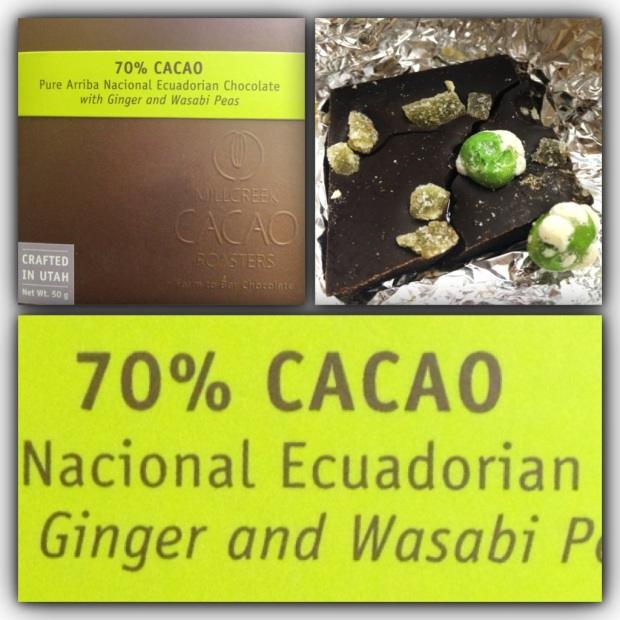 Ginger and Wasabi Peas chocolate bar by Millcreek Cacao Roasters